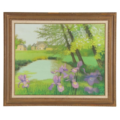 Jacques Eitel Oil Painting of a Pond, Late 20th Century