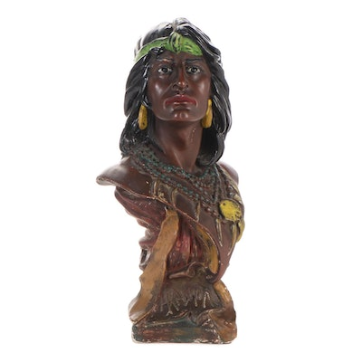 "Painted Plaster ""Hiawata"" Cigar Store Bust, 20th Century"