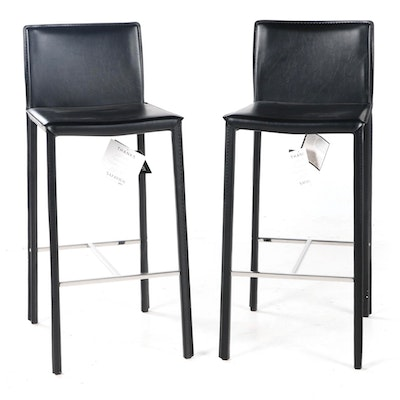 "Pair of Safavieh ""Jason"" Bonded Leather Barstools"