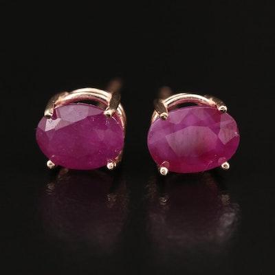 14K Rose Gold Ruby Stud Earrings
