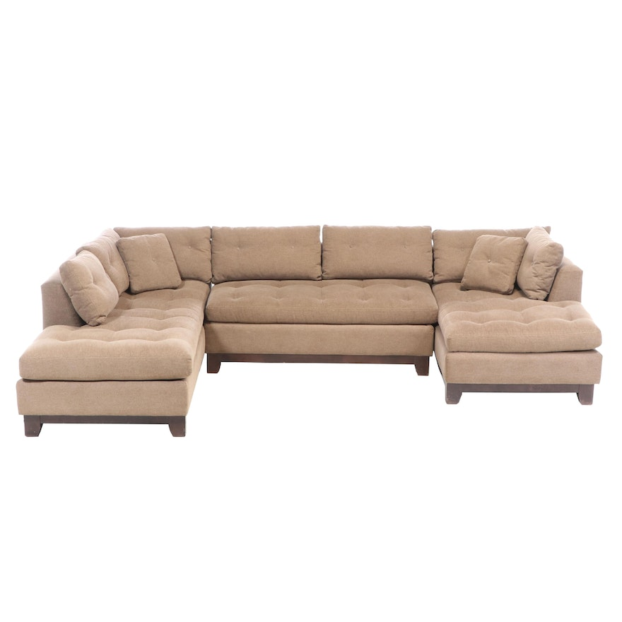 Arhaus Contemporary Three-Piece Upholstered Double Chaise Sectional Sofa
