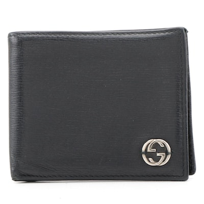 Gucci Interlocking GG Black Grained Leather Bifold Wallet