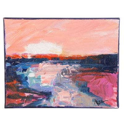 """Claire McElveen Landscape Oil Painting """"Canyon River Sun,"""" 2021"""
