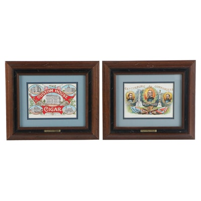Lithograph Cigar Box Lithographs of Custom House and Gettysburg Commanders