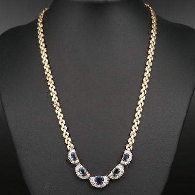14K Sapphire and 1.36 CTW Diamond Necklace