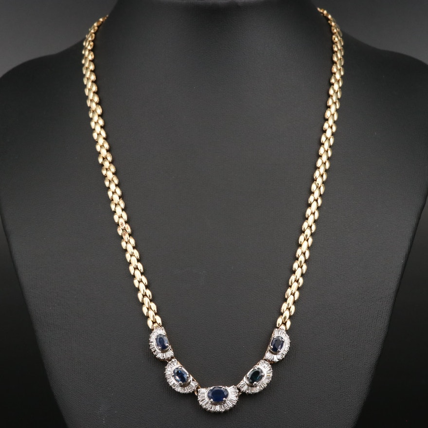 14K Sapphire and 1.36 CTW Diamond Necklace