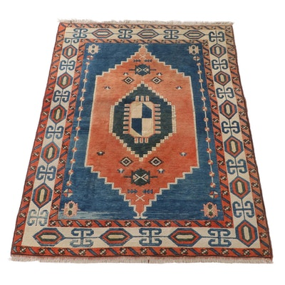 6'8 x 9'2 Hand-Knotted Turkish Konya Wool Area Rug