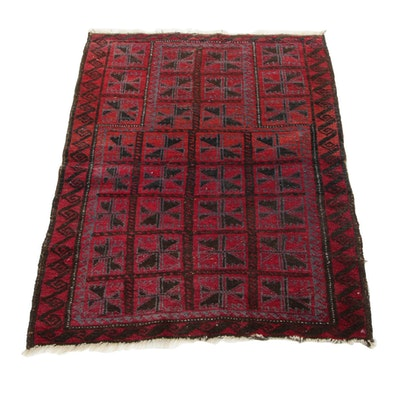 2'11 x 3'11 Hand-Knotted Persian Turkmen Accent Rug, 1930s