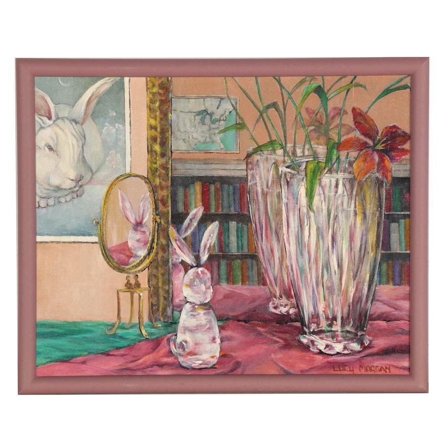 Still Life Oil Painting of an Interior Scene, 21st Century
