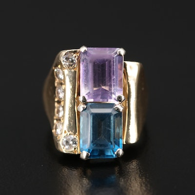 Vintage 14K Topaz, Amethyst and Diamond Ring