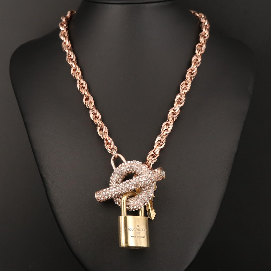 Louis Vuitton Cubic Zirconia Lock and Key Necklace