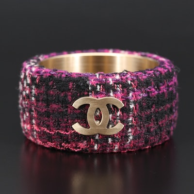 2009 Chanel Tweed Logo Bangle