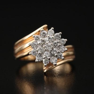 14K Diamond Custer Bypass Ring