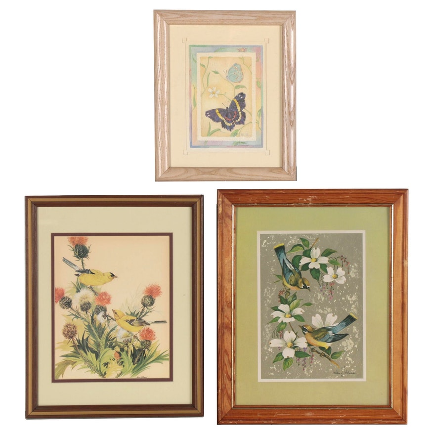 Floral Offset Lithographs with Birds featuring William J. Whiteside