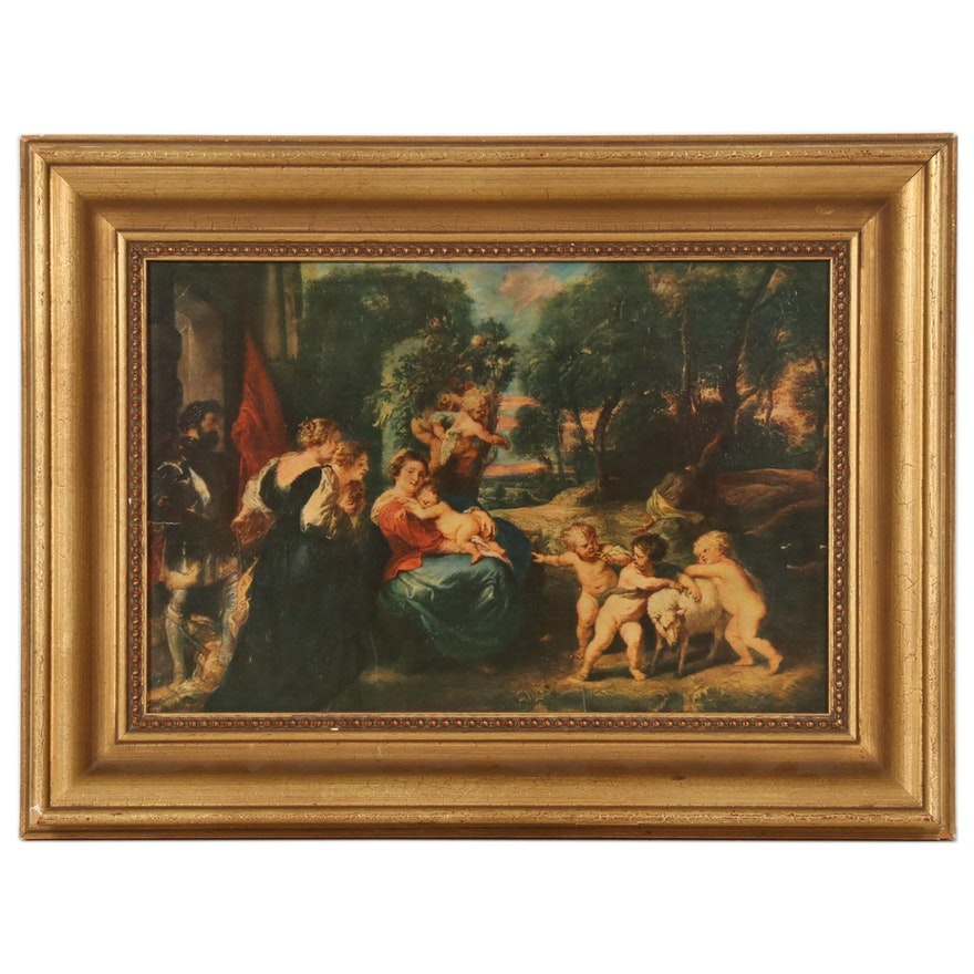"""Offset Lithograph after Rubens """"The Rest on the Flight into Egypt with Saints"""""""