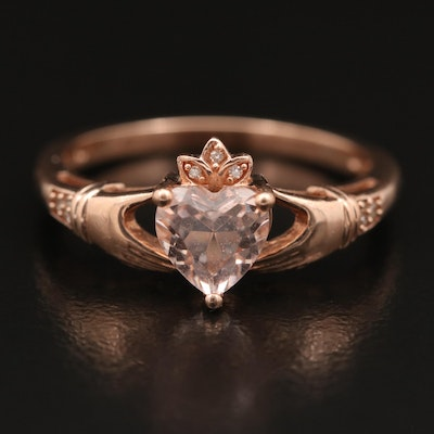 10K Rose Gold Cubic Zirconia and Diamond Claddagh Ring