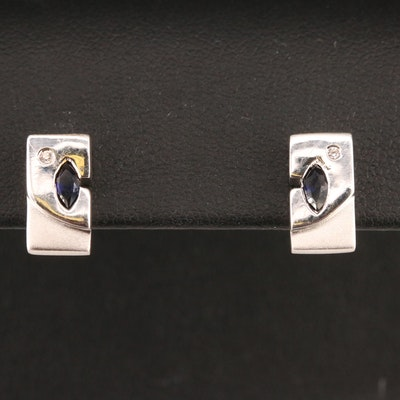 Sterling Sapphire and Cubic Zirconia Stud Earrings