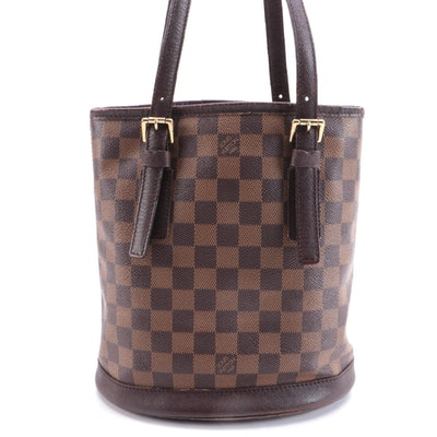 Louis Vuitton Marais Bucket Bag in Damier Ebene Canvas