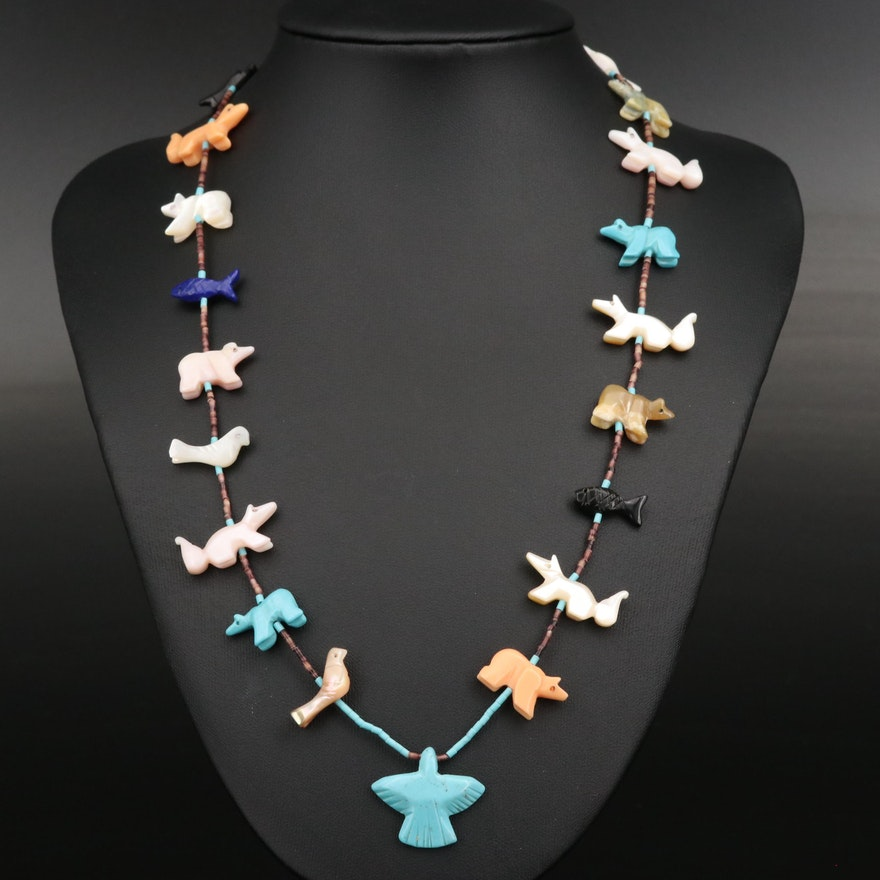 Southwestern Fetish Necklace with Sterling Clasp