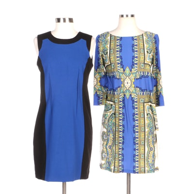 Calvin Klein Blue/Black Sheath Dress and London Times Petite Printed Shift Dress
