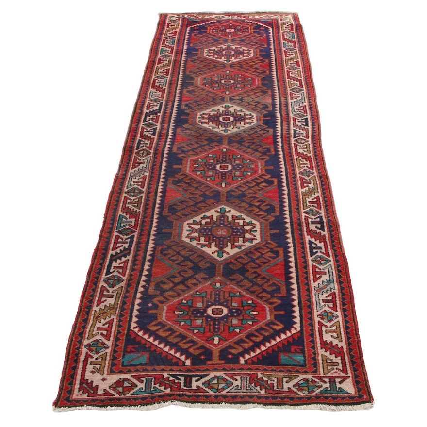 3'4 x 10'10 Hand-Knotted Persian Heriz Long Rug, 1930s