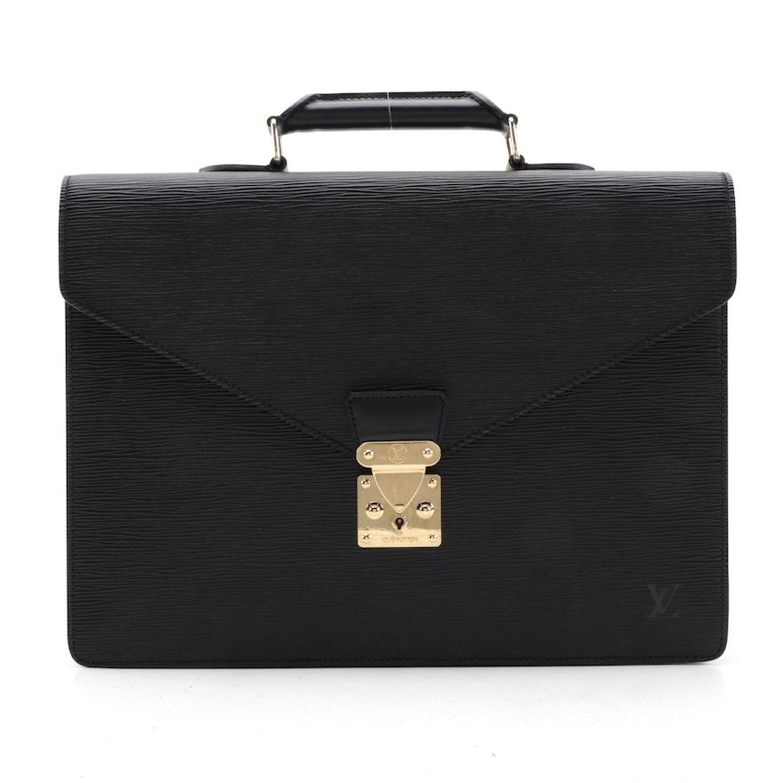 Louis Vuitton Briefcase in Black Epi Leather