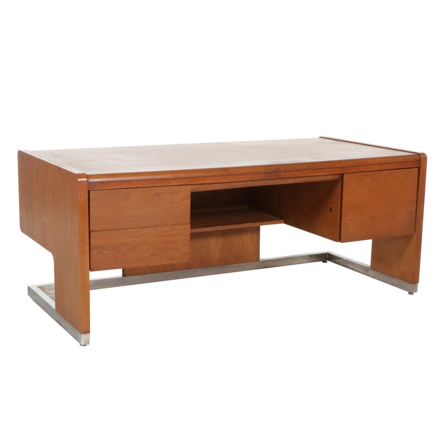 Modernist Oak Desk on Chrome Base, Late 20th Century
