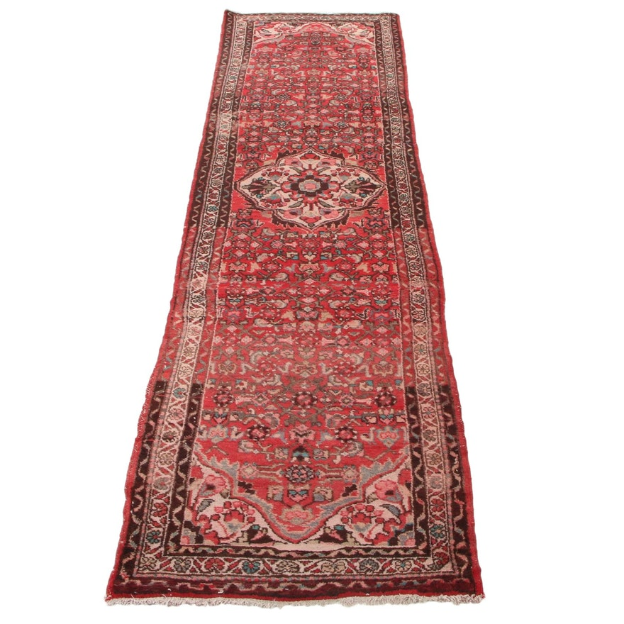 2'11 x 10'3 Hand-Knotted Persian Zanjan Carpet Runner, 1950s