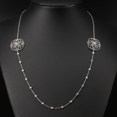 14K Diamond Openwork Floral Station Necklace