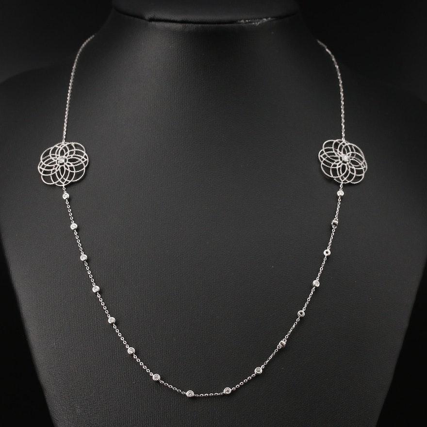 14K Diamond Openwork Floral Station Necklace