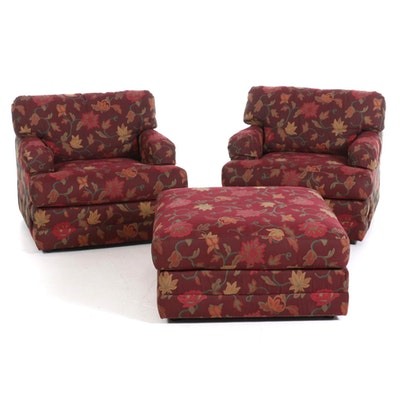 Pair of Oversized Custom Jacquard Upholstered Armchairs with Ottoman