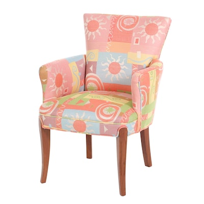 Contemporary Cherrywood Upholstered Armchair