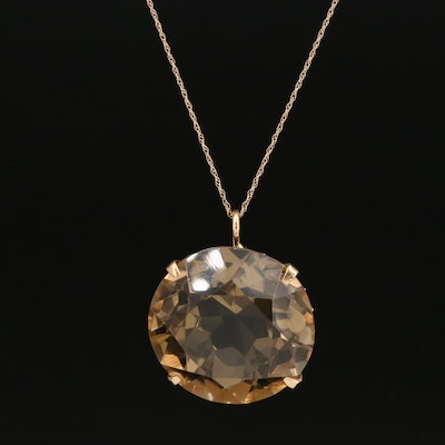14K 45.20 CT Smoky Quartz Necklace