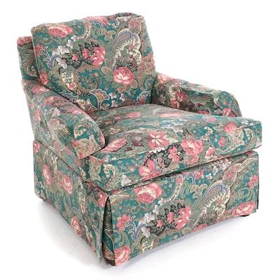 Custom Upholstered Skirted Armchair, Late 20th Century
