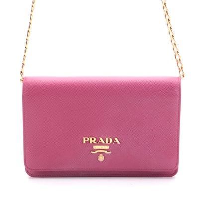 Prada Chain Wallet Crossbody in Pink Saffiano Leather