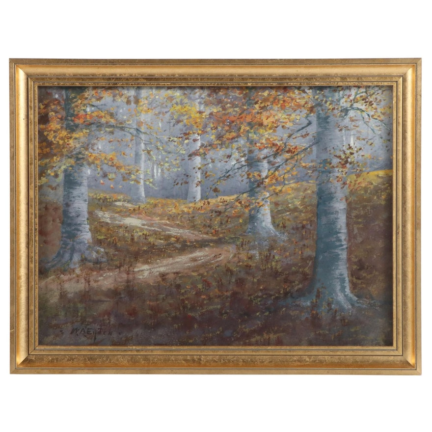 Landscape Gouache Painting of Forest Interior, Mid-20th Century