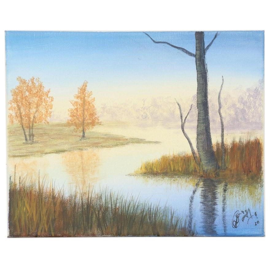"Anjana Shakya Acrylic Painting ""River Landscape,"" 2020"
