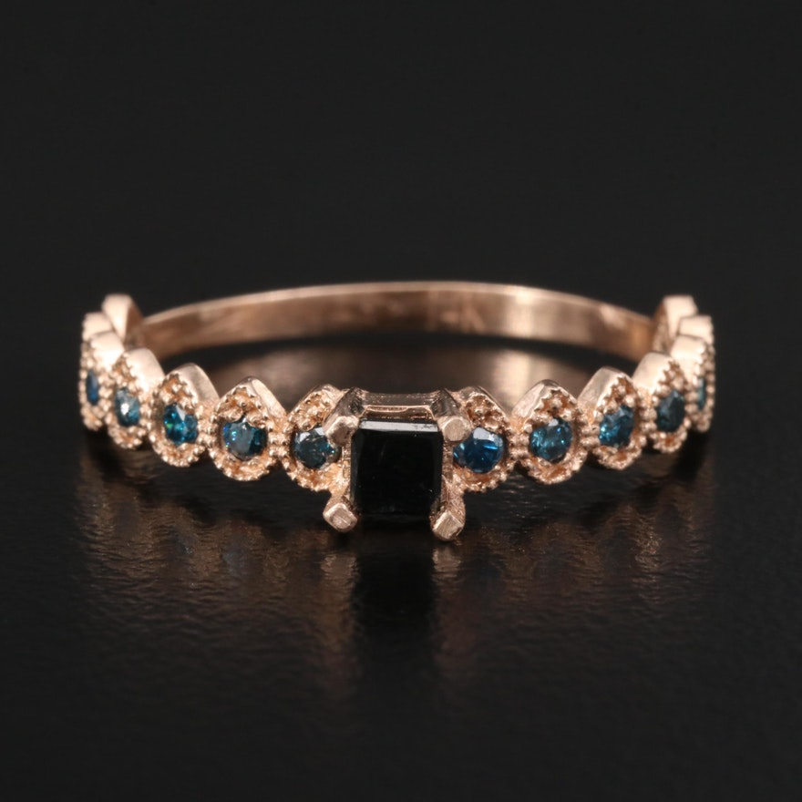 14K Rose Gold Ring Featuring Black and Blue Diamonds