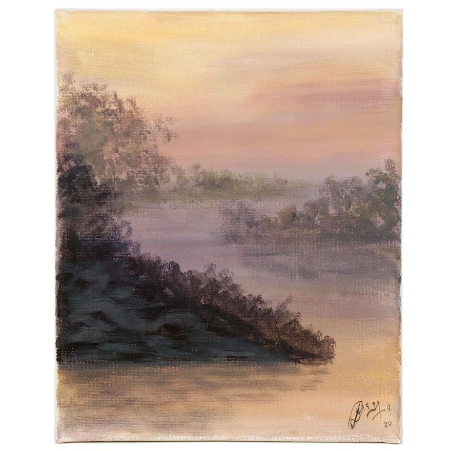 """Anjana Shakya Acrylic Painting """"Dark Swamp,"""" 2020"""
