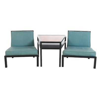 Michael Taylor for Baker Furniture Mid Century Modern Ebonized Table and Chairs