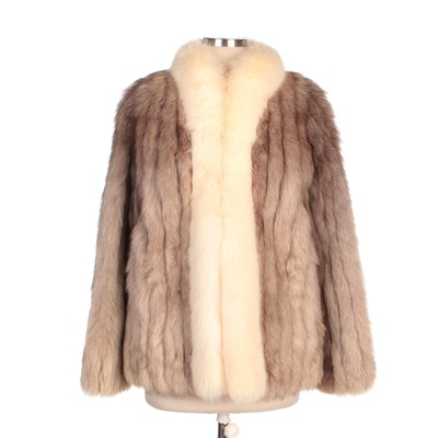 Corded Fox Fur Coat with Arctic Fox Fur Collar