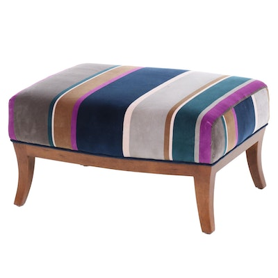 RJones Contemporary Striped Velvet Upholstered Ottoman