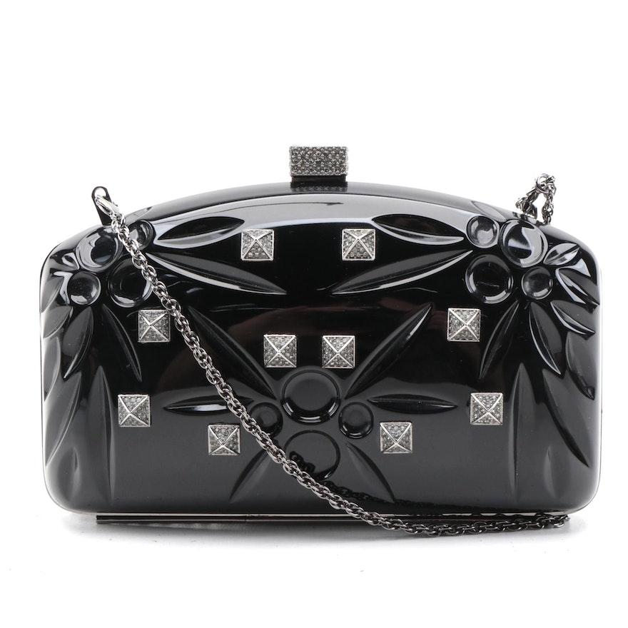 Valentino Garavani Noir Pop Rockstud Minaudière Clutch in Black PVC