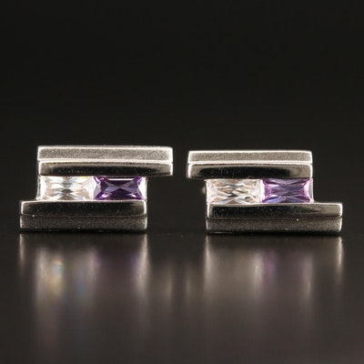 Sterling Cubic Zirconia Geometric Stud Earrings
