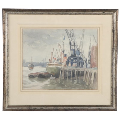 Albert Taylor Watercolor Painting of Harbor Scene, Mid-20th Century