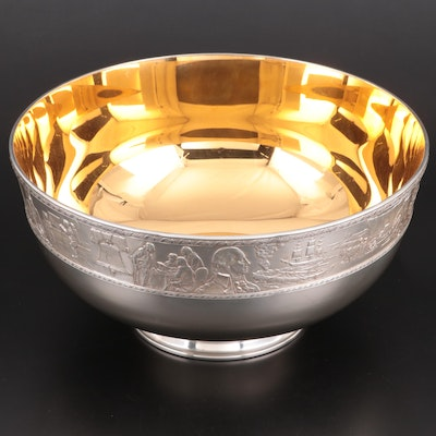 Franklin Mint Sterling Silver with 24K Gold Wash Bicentennial Bowl, 1976