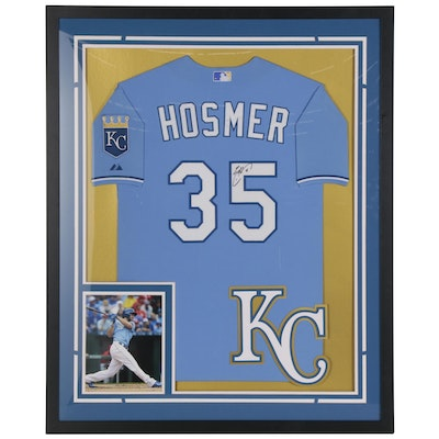 Eric Hosmer Signed Kansas City Royals Framed Baseball Jersey with Photo Print