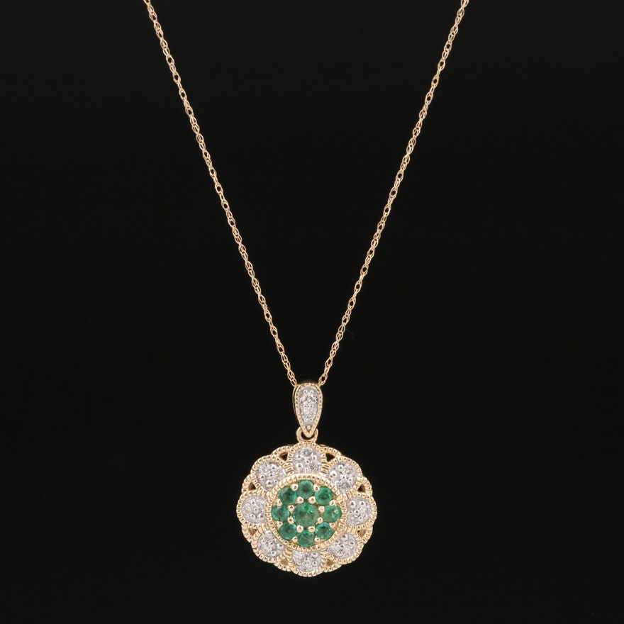 14K Emerald and Diamond Necklace