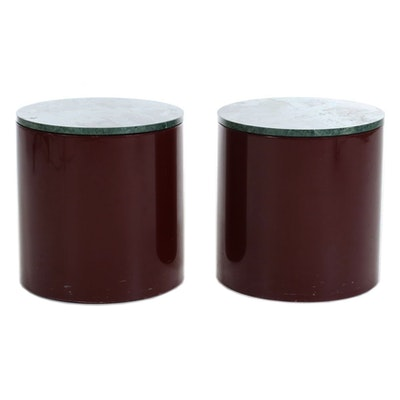 Pair of Intrex Green Marble Topped Cylindrical End Tables