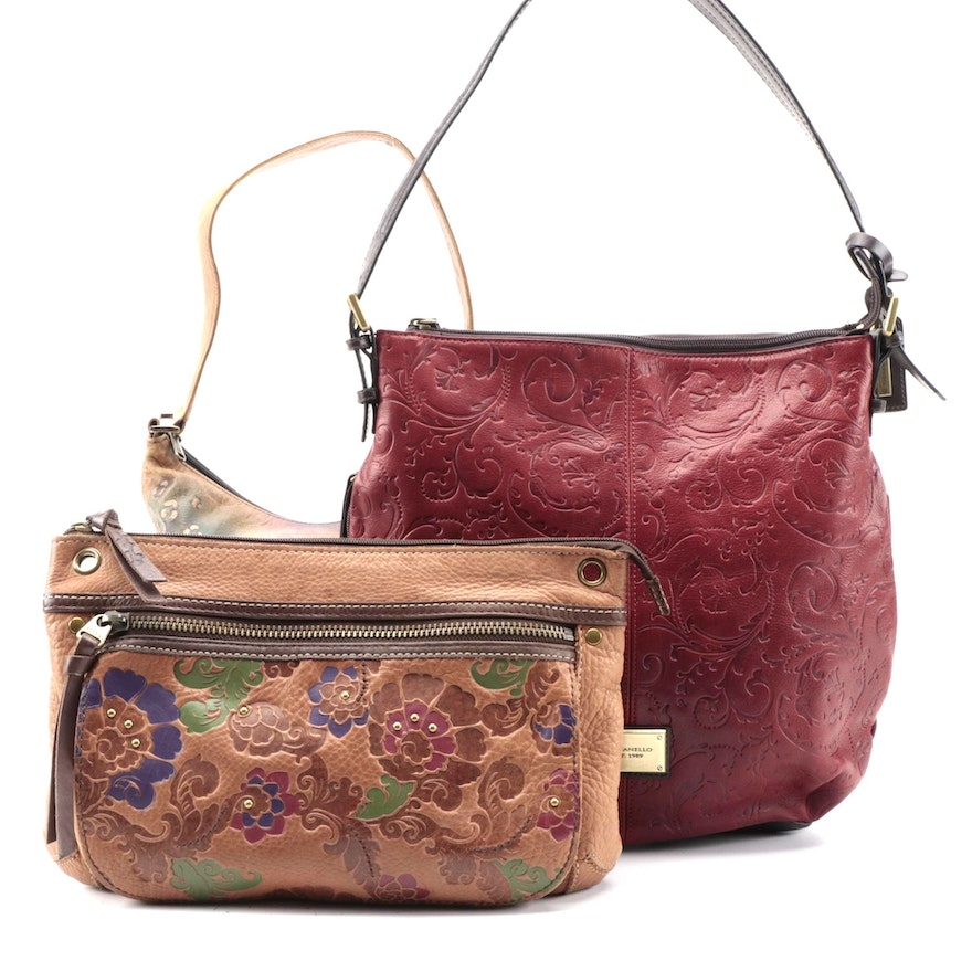 Anuschka, Fossil and Tignanello Foliate Painted and Embossed Leather Bags